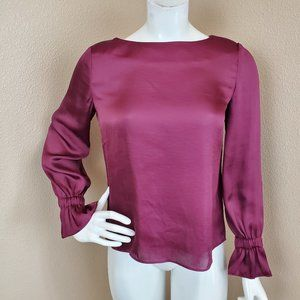 BANANA REPUBLIC Wine Ruched Cuffs Blouse XS